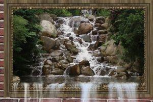 nature wall brick wall frame moving water waterfalls