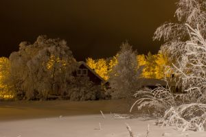night lapland street light snow finnish house