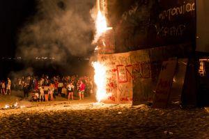 night summer party celebration firework night photography beach fire