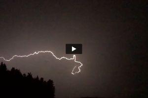 night trees lightning sky storm weather