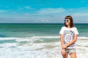 ocean female day sea beautiful sunny lady woman water t-shirt