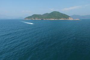 ocean water speedboat aerial shot sea
