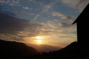 panorama sun horizon evening sun clouds