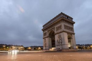 paris day arc de triomphe place charles de gaulle monument attraction city sky lights clouds