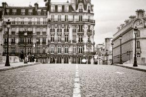 paris sepia bridge black and white