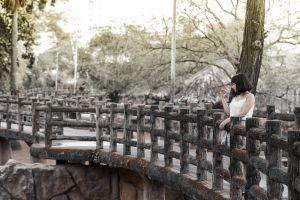 park daylight girl person bridge tree woman
