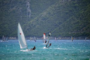 people daytime recreation windsurfing windy sea leisure water sailing sail