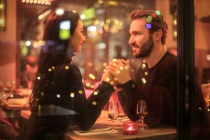 people drink date dinner smiling love handsome male fashion flirting