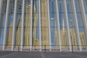 people pavement walking blurry reflection blurred building