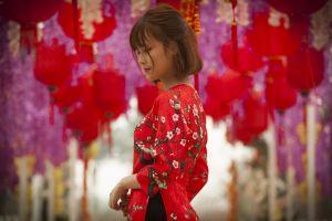 person girl wear dress paper lanterns woman