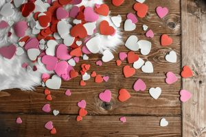 petal white heart bokeh valentine's colorful candy hearts flatlay light bouquet flowers