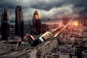 photoshop spitfire airplane aircraft art london