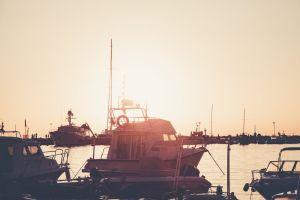 port pier bay harbor evening sky dock water yachts sunset