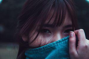 portrait eyes facial expression beautiful model woman sadness fringe close-up hair