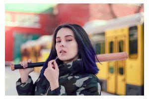 pretty fun portrait hands young baseball bat hair woman person cute