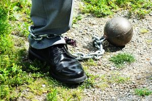 prison ball chain wedding bridegroom dress husband step groom grass