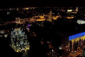 road aerial shot buildings lights city city lights