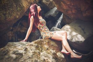 rocks fashion cave photoshoot beauty young daytime style dress pretty