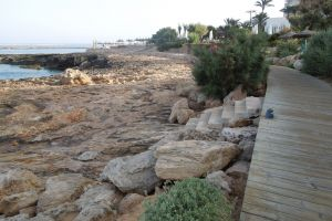 rocks wooden walkway mallorca beach holiday