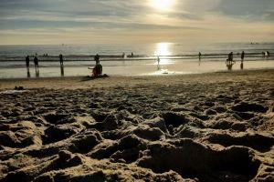 sand beach evening sun water sand beach golden sun deep ocean clear sky