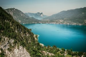 scenic landscape water daylight mountains nature aerial shot