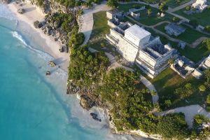 scenic sea aerial shot coast ruins water sand ocean