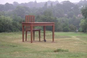 sculptor the writer art wood hampstead heath desk chair grass giancarlo neri writer's block