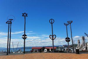 sculpture bridge harbour sea monument new zealand art blue sky sky