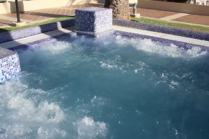 shadow swimming pool steam daylight relaxation hot water jacuzzi