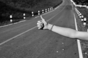 sign hand arm black and white bracelet highway thumb black-and-white road