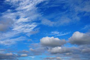 sky fluffy clouds clouds blue sky