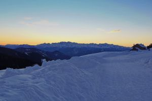 snow passo oclini sun alto adige aldein latemar sunset hut dolomiti jochgrimm