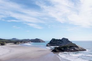 south blue sky beach new zealand stunning white sand sand ocean idyllic vacation