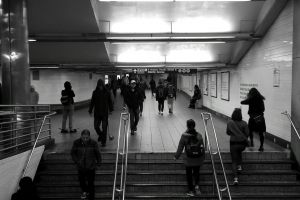 stairs monochrome people train station subway black-and-white