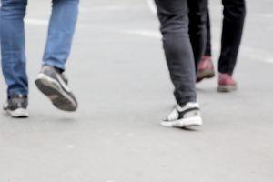 street crossing road people feet