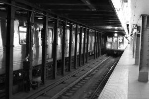 subway black and white underground urban subway platform train tracks trains new york new york city