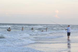 summer fishing beach waves