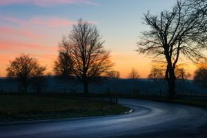 sunset afternoon road curve