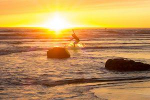 surfing sunset surf