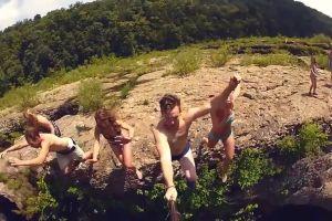swirl header water nature adventure dive rocks cliff friends stream
