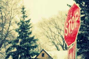 town stop snow stop sign winter sign