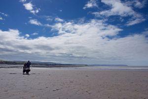 two people blue sky couple beach clouds big sky sky dog