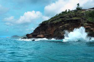 vacation tropical diving caribbean boat ocean summer snorkel waves