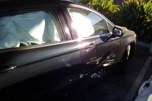 vehicle wreckage airbag crashed side airbag deployed