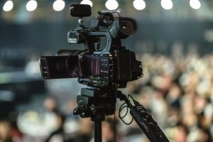 video camera musical technology performance news lens equipment party background action