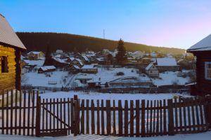 village snowy landscape cold russia snow