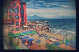 volcano sea blue beach italy holiday bay
