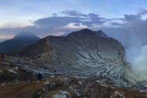 volcano sunset panoramic indonesia