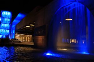 water fountain lights night attraction entrance hotel blue