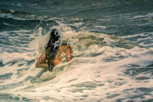 waves female storm water swim sea